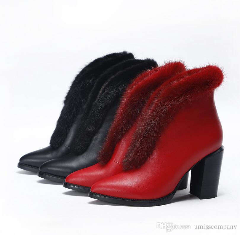 Compre Botas De Lujo Para Dama Botas De Cuero Genuino Botas De Piel De Visón Botas De Tobillo Atractivas Negro Rojo Forro Cálido Forro De Cuero De