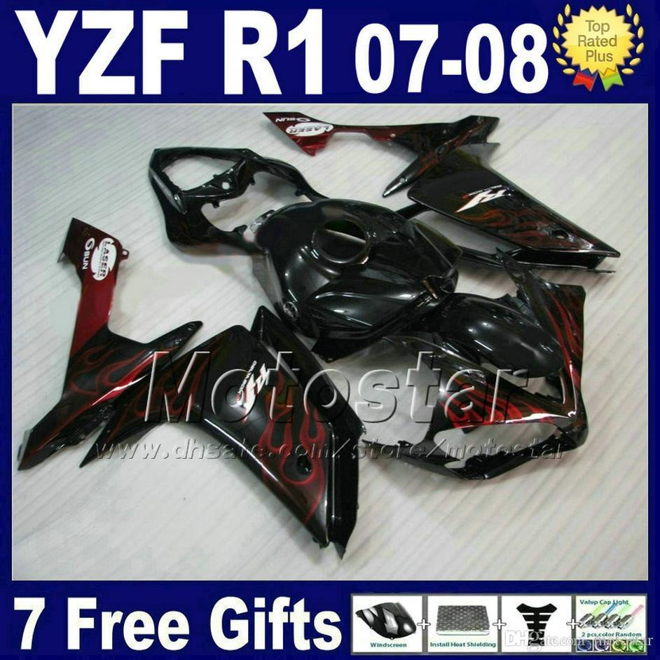 اللهب الحمراء نفطة + غطاء خزان لعام 2007 2008 YAMAHA R1 هدية طقم YZF R1 07 08 حقن 5L14
