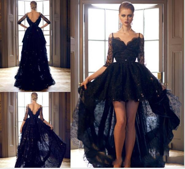 Siyah Gelinlik Muhteşem Dantel Abiye V Boyun Yarım Kollu Yüksek Düşük Kat Uzunluk Vestidos Payetli Backless Vestido