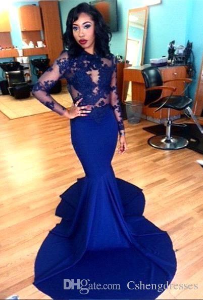 로얄 블루 레이스 깎아 지른 롱 슬리브 인 어 공주 이브닝 드레스 2016 아랍어 높은 목걸이 환상 Bodice 정장 파티 복장 가운 Vestidos