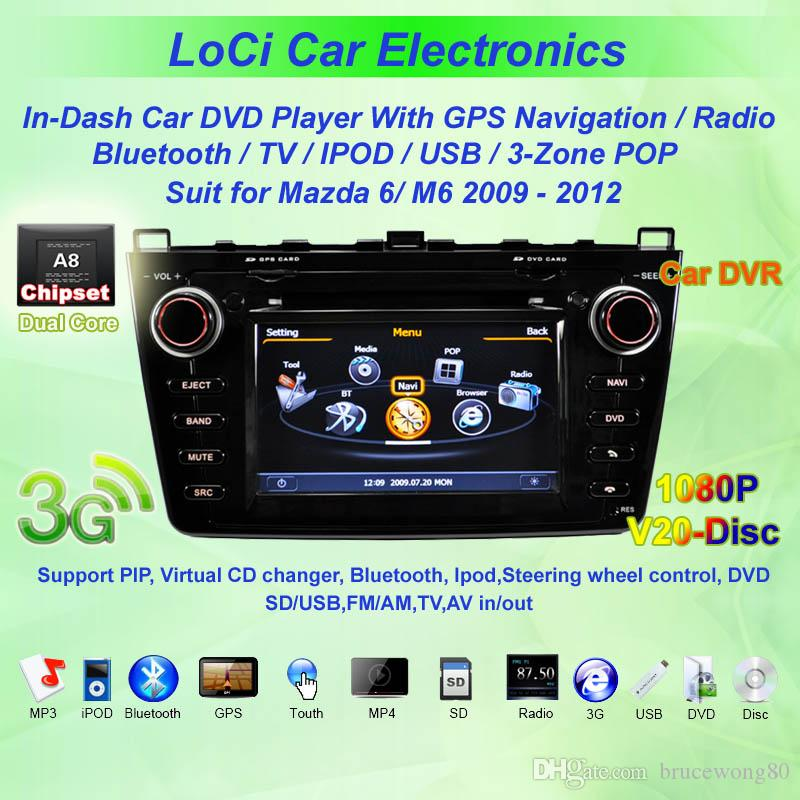 Free Shipping! Car GPS Navigation Car DVD Player for Mazda 6 2009- 2012,TV,Multimedia Video Player system+Free GPS map+Free camera