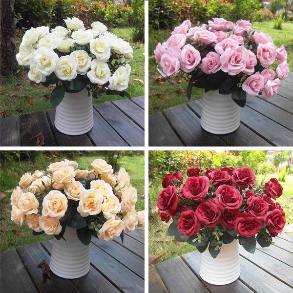 Artificial False Rose Silk Flowers 15 Flower Head Floral Home Wedding Party Garden Bridal Hydrangea Decor