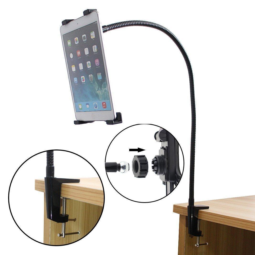 iPad Alla Tablet PC-skrivbordsmonteringshållare står Aluminium 360 grader Roterande inställbar Flexibel med Long Goose Neck For Lazy Man