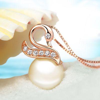 wonderful pearl crystal swan pendant (2*1cm) gold chain women's necklace (woniu152)