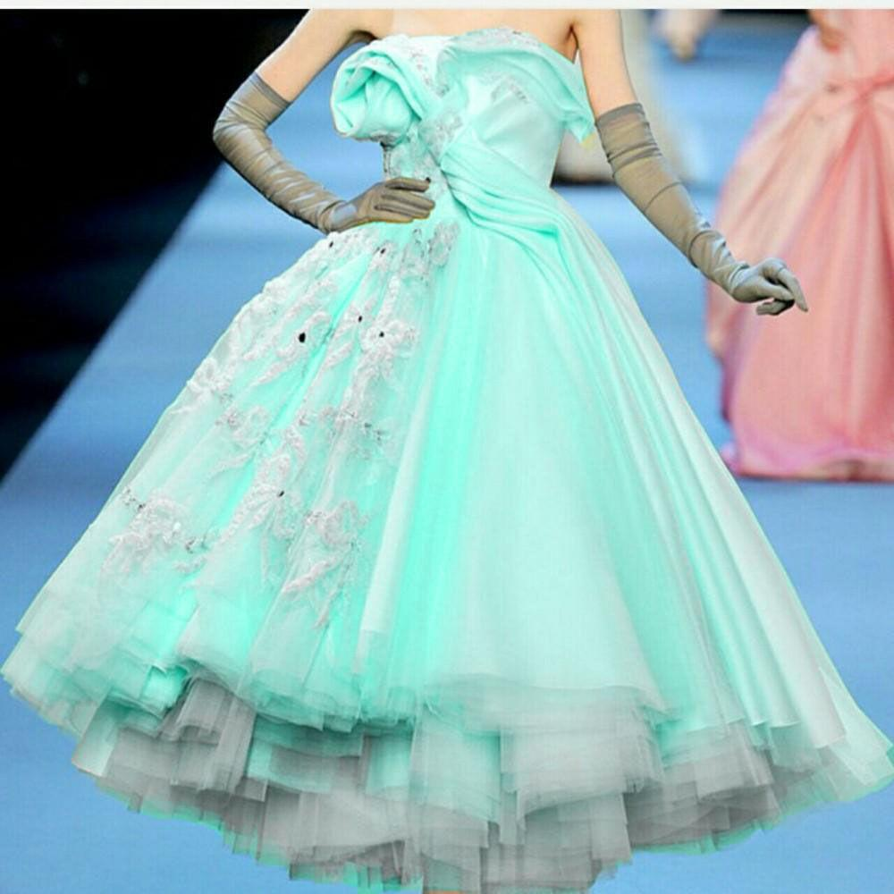 Puffy Mint Green Strapless Ruched Zuhair Murad Prom Dresses 2016 ...