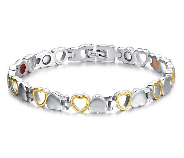 Moda de Nova Prata de Ouro de Aço Inoxidável 316L Sólido E Oco Coração Elo Da Cadeia de Ligação Magnética Pulseira Mulheres / Senhora de Jóias de Presente Fino