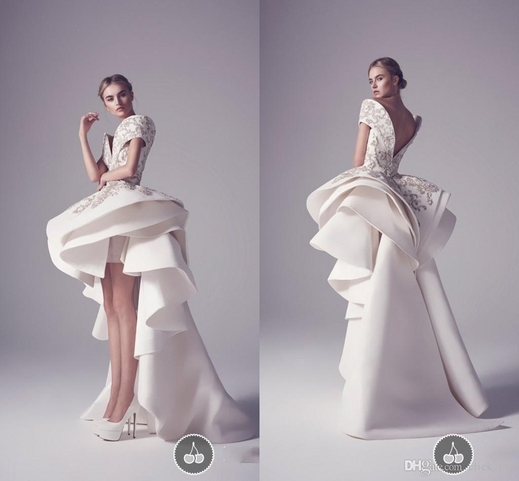 Ashi Studio Hoge Low Prom Dresses Off Shoulder Borduurwerk Pailletten Applique Formele Party Jurken Tiered Arabische Vestidos Avondjurkjurken