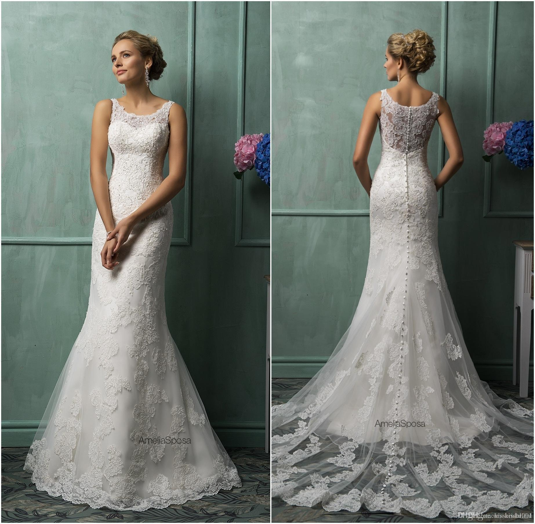 Amelia Sposa Full Lace Wedding Dresses Real Image Vintage Lace Mermaid Bridal Gowns Long Court Train Church Paolo Sebastian