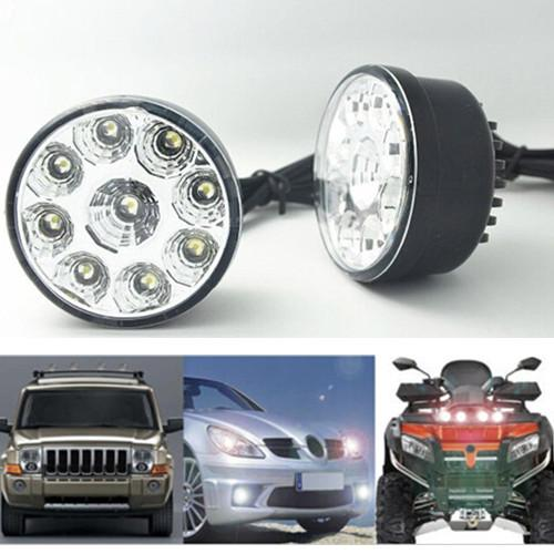 2pcs Car Circle White 9LED 12V Front Driving Fog Light Running Lamp Universal