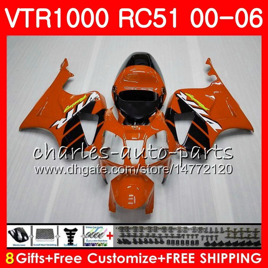 Corpo per HONDA RTV1000 VTR Arancione nero 1000 00 01 02 03 04 05 06 92NO70 VTR1000 RC51 SP1 SP2 00 2000 2001 2002 2003 2004 2005 2006 Carena