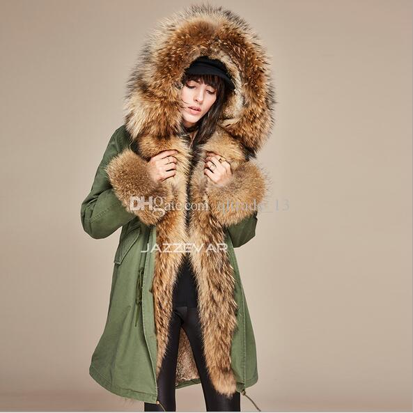 Moda Jazzevar marca cáqui pele forro do exército lona verdes longos casacos com pêlo marrom com capuz guarnição