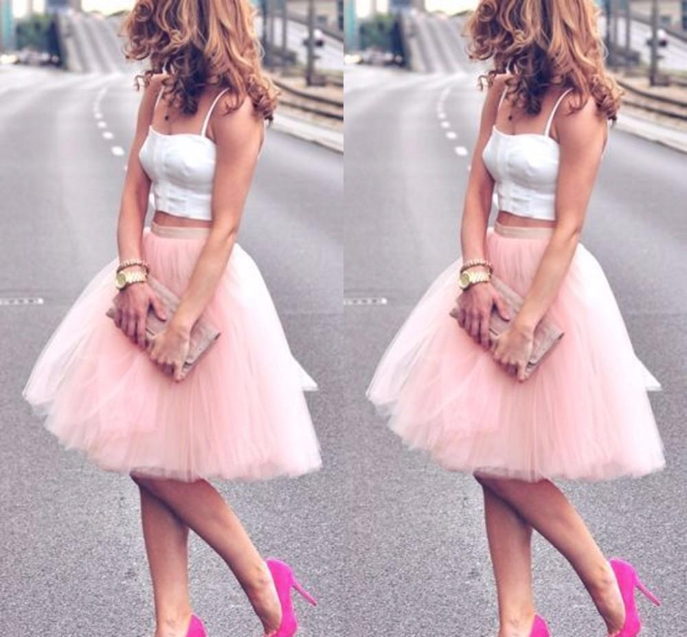2015 Summer Knee Length Young Ladies Women Bust Skirts Adult Tutu Tulle Skirt A Line Cheap Skirt Dresses Party Evening Dresses Gown