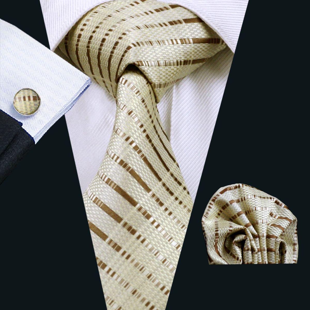 Classic Silk Tie for Men Yellow Hanky Cufflinks Set Mens Jacquard Woven Business Formal Necktie 8.5cm Width Casual Set N-0656