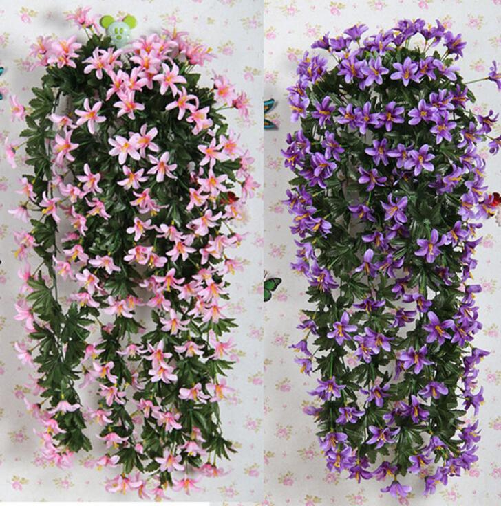 10ピース70センチ造花の造花シルクの冬ジャスミンの花の黄色い藤の森の装飾