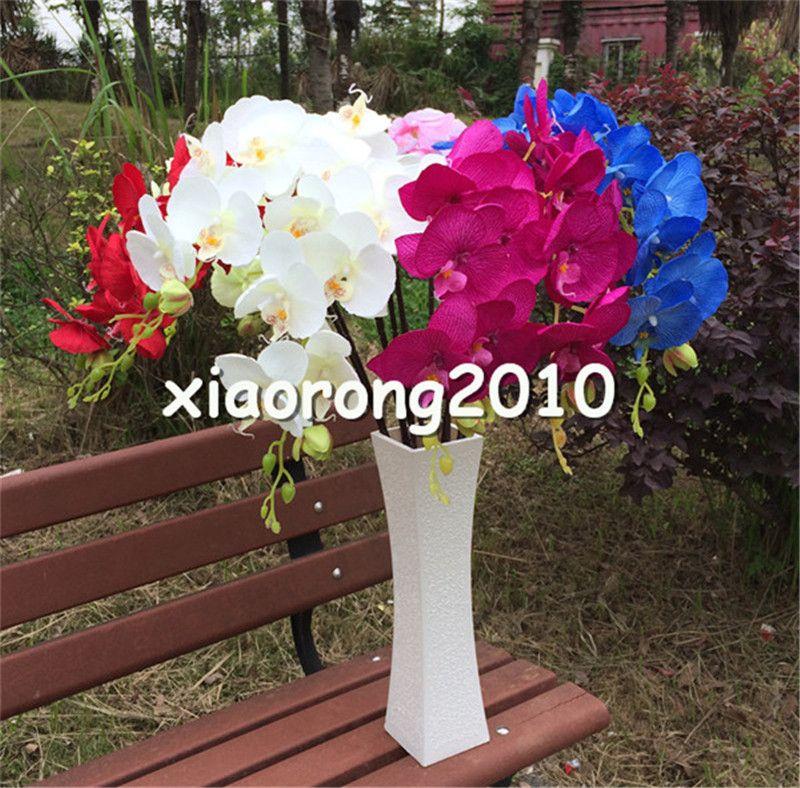 """シルクオーキッド10ピース100cm / 39.37 """"偽の単一の茎Vanda Phalaenopsis Oncidium Moth蘭のための蘭のための蘭のための蘭の蘭のための人工的な装飾的な花"""
