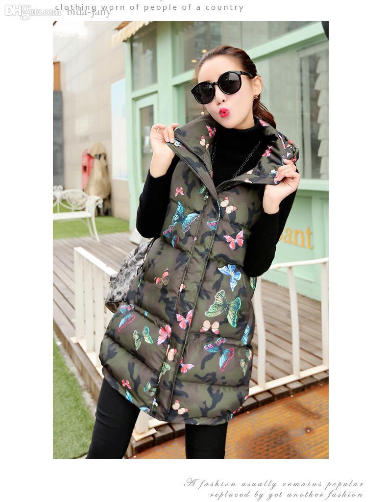 Wholesale-fashion lange sectie Womens Winter en Herfst Camouflage Koren Mouwloze Donsjack Hooded Vest Cotton Vest M / 2XL J457