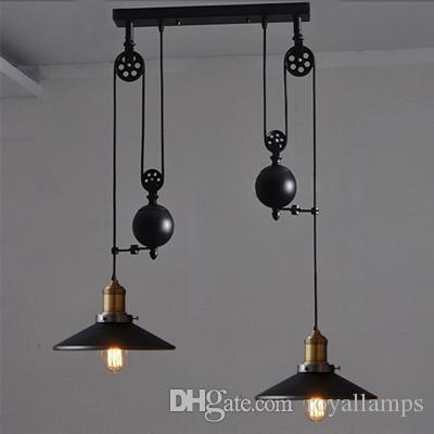 Kitchen Bar black Iron Pulley Pendant Light with wheel Retro Industrial Light dining room vintage Tiffany glass Pendant Lamp E27 Led luster