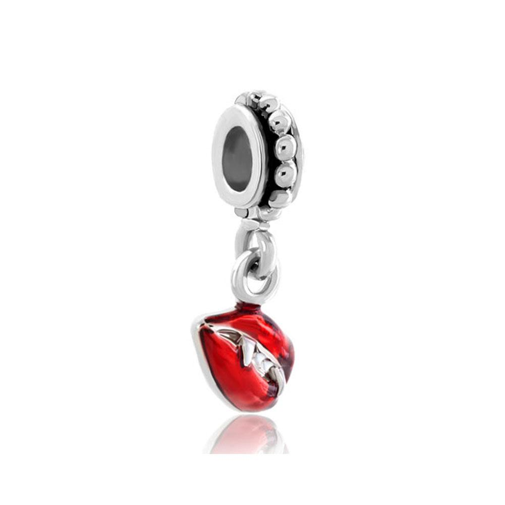 European style Red Vampire Lips Tusks spacer dangle bead infant lucky charms Fits Pandora charm bracelet