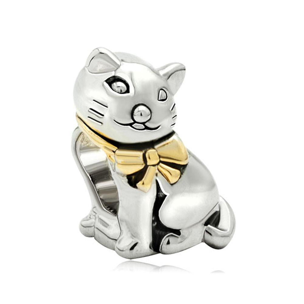Fashion Jewelry Big Hole European Style 2 tones plated animal cat metal bead charms for bracelet