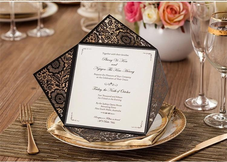 2016 New Design Black Wedding Cards Invitations Folded Hollow Flowers Customized Green Inner Sheet Party