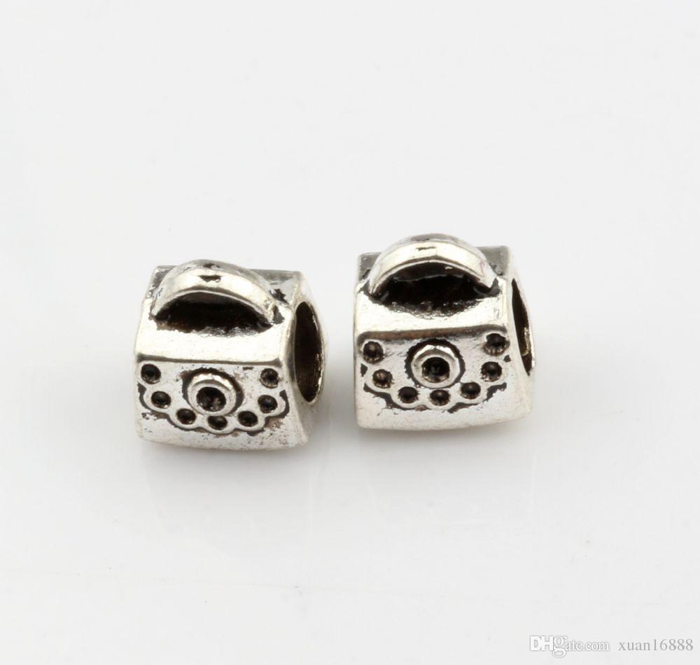 MIC 100 pcs Antique silver Package Spacers Big Hole Beads for Charm Bracelets ilia & Biagi Bracelet 9*10mm