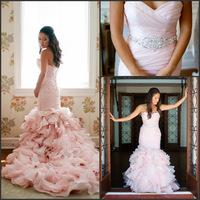 Vestidos De Novia New Sweetheart Pink Ruffled Organza Mermaid Wedding Dresses 2015 Bridal Gown Robe De Mariage Lace Up Back