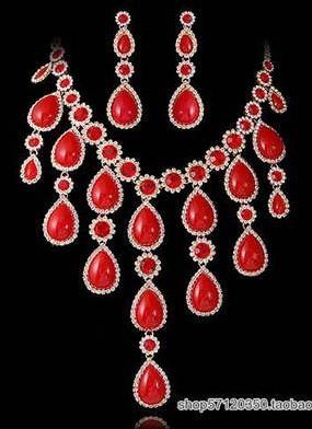 diamante vermelho cai brincos flor r casamento da noiva conjunto de colar (ma52)