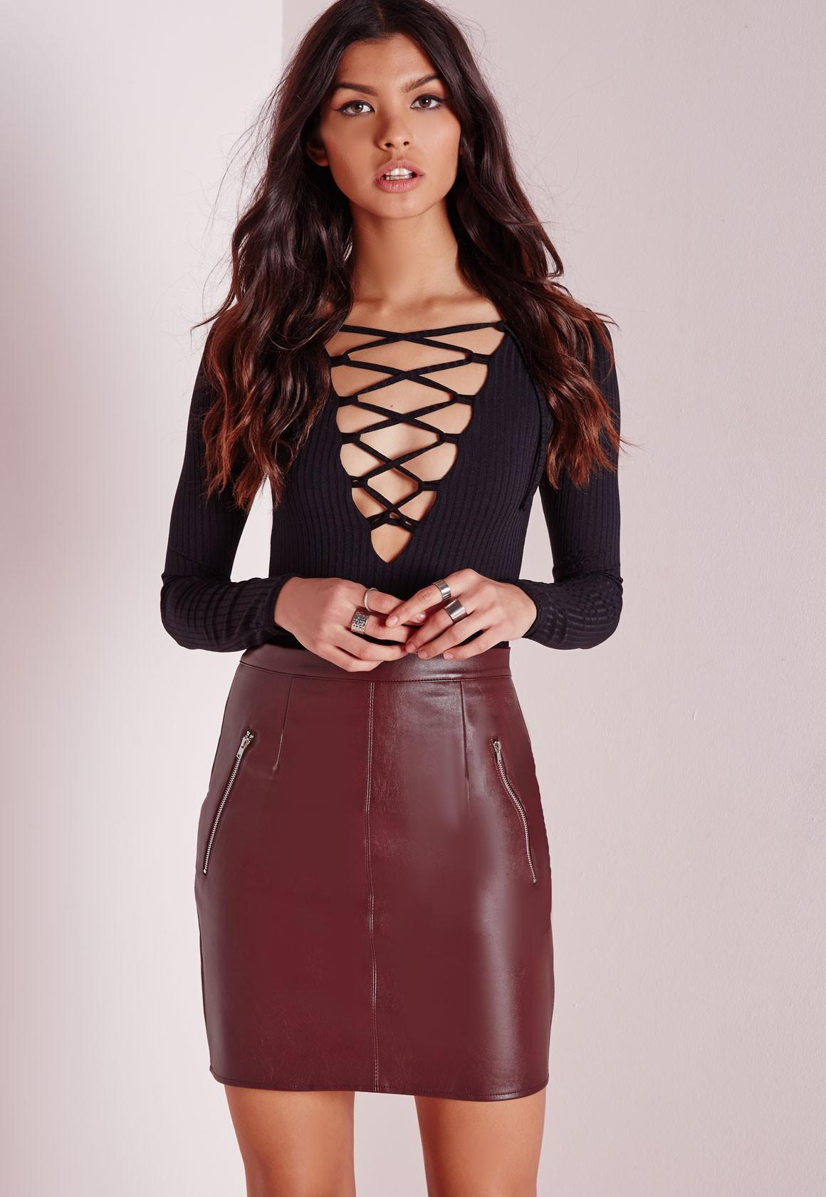 2017 New 2016 Womens Fashion Pu Leather Mini Skirts Ladies ...