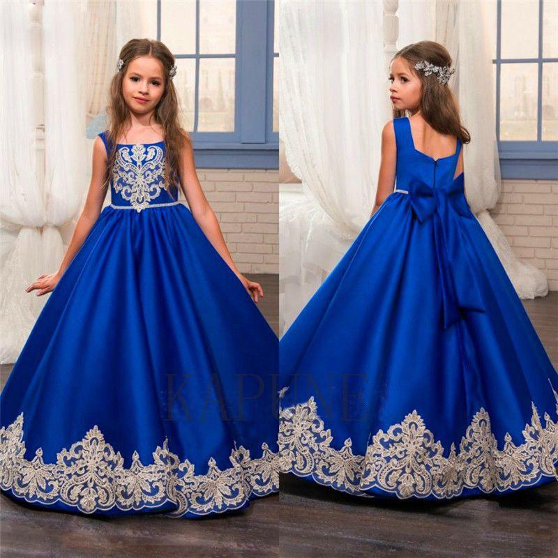 2017 Royal Blue Blumenmädchen Kleider O-Ncek Appliques Sleeveless Ballkleid Formal Bow Schärpen Erstkommunion Kleider Vestidos Longo754