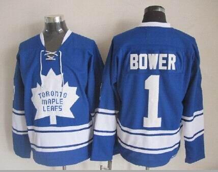 Alta qualità ! 1967 maglie di Hockey su ghiaccio di Toronto Maple Leafs # 1 Johnny Bower Vintage retrò CCM maglie autentiche cucite ordine della miscela!