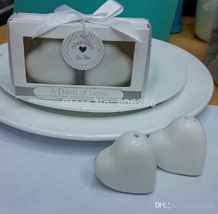Bridal Shower Favors Party Return Gifts A Dash of Love Porcelain Salt Pepper Shaker 150pairs Wholesale Free Shipping
