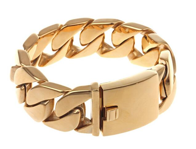 Tone 26MM pesado Grosso ouro banhado a ouro Mens Meninos cubana Curb cadeia de jóias de titânio de aço inoxidável 316L Moda Rocha pulseira