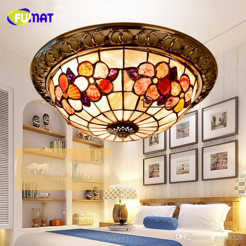 FUMAT 12 In 14 Inch 16 Inch Peony Shell Ceiling Light Bedroom Lamp American Pastoral Balcony Door Entrance Ceiling Lamp