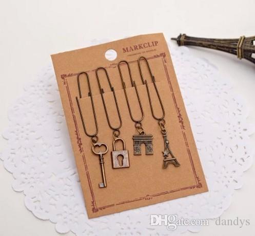 Gratis verzending / nieuwe 4 stks / set Cuteretro Style Paper Clip Bookmark / Metal Bookmarks Hollow Bookmark, Dandys
