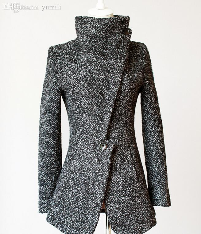 Wholesale-2015 New Winter Women Clothing One Button Lapel Plus Size Woolen Coat Trench Grey