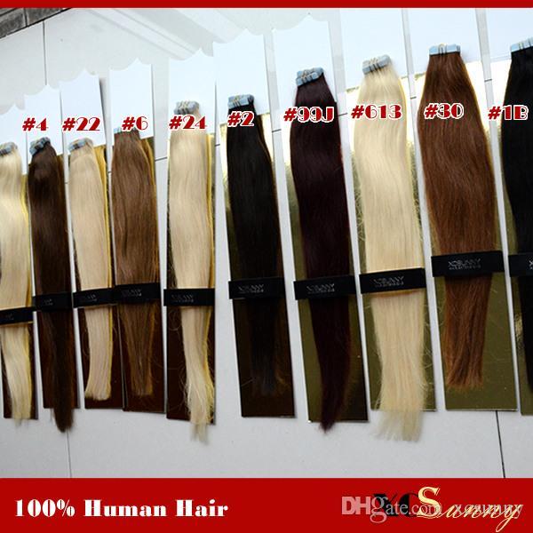 """XCSUNNY 18 """"20"""" Bande Vierge Péruvienne Dans Les Extensions De Cheveux 40 pièces 100g / pk Bande Dans L'extension De Cheveux Remy Peau Trame Extensions De Cheveux"""
