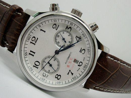 Großhandel - Heißer Verkauf Herrenuhr mechanische automatische Uhren für Männer weißen Zifferblatt Lederband 2039