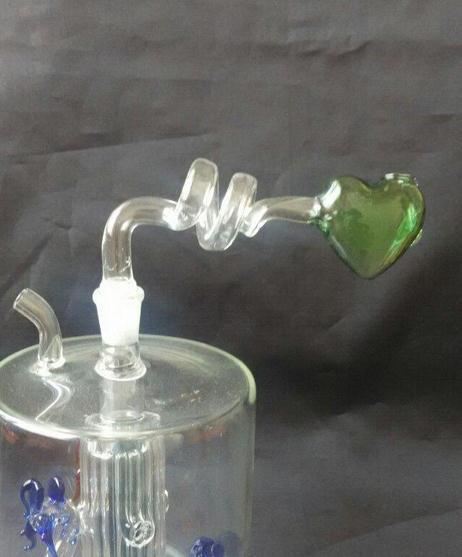 Wholesale free shipping - 2015 new 2 spiral transparent glass filter color peach heart burn pot, glass Hookah / glass bong accessories, spot