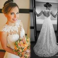 vestido de noiva 2015 Fashion Cap Sleeve A Line Appliques Lace Wedding Dresses With See Through Back Bridal Gown Casamento