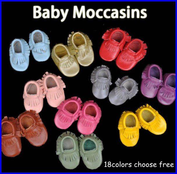 Livraison gratuite en gros bébé mocassins doux 100% tête Layer cuir de vache moccs bébé chaussons bébé chaussures 100pc = 50 paires 18 couleurs choisir 0-2T