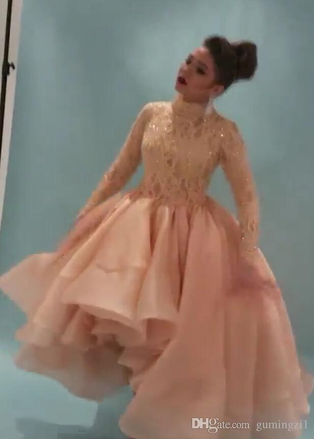 2015 Arabic Myriam Fares Prom Dresses Ball Gown Long Sleeve Lace High Neck Tiered Hi Lo Formal Evening Prom Party Celebrity Dress Gowns