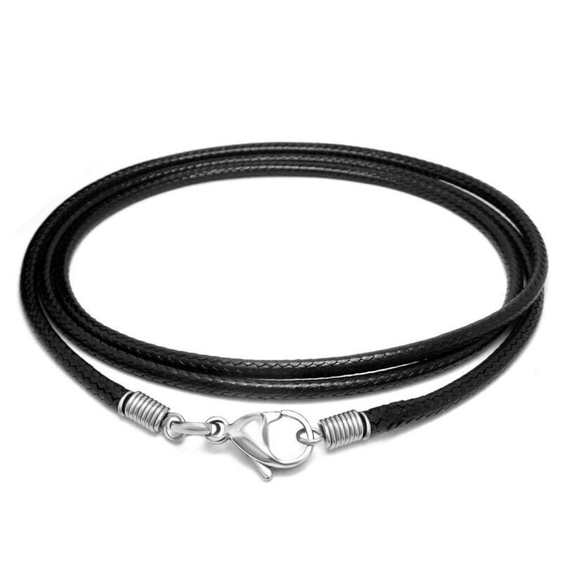 Stainless Steel lobster clasp Men/'s Black Leather Cord Bracelet