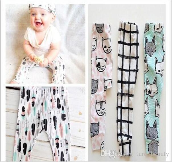 4pcs/2016 girls clothing trousers Leggings 6 Design kids INS pants baby Tights clothes kids boys toddlers fashion animal fox tent pants 46