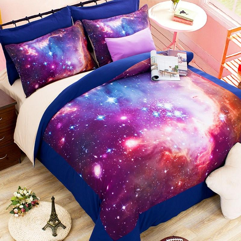 O 2//3/Hipster Galaxy 3D Bedding Sets Universe Outer Space Duvet Cover Bed  ...