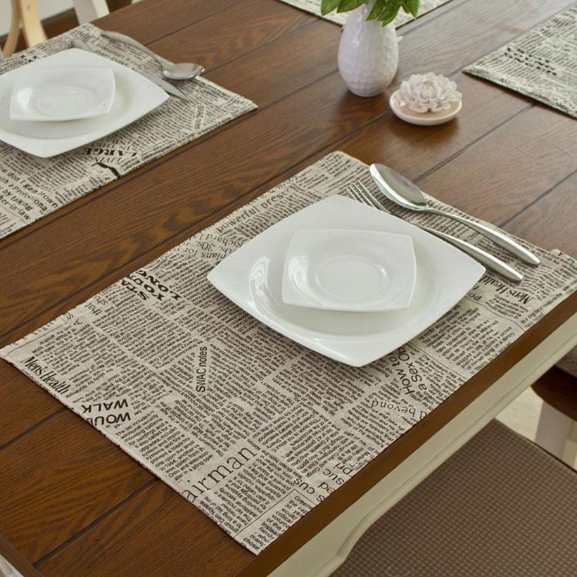Dining Table Mat Coasters Heat Insulation Newpaper Linen Placemat Wedding Party Brithday Decoration Mats Pads