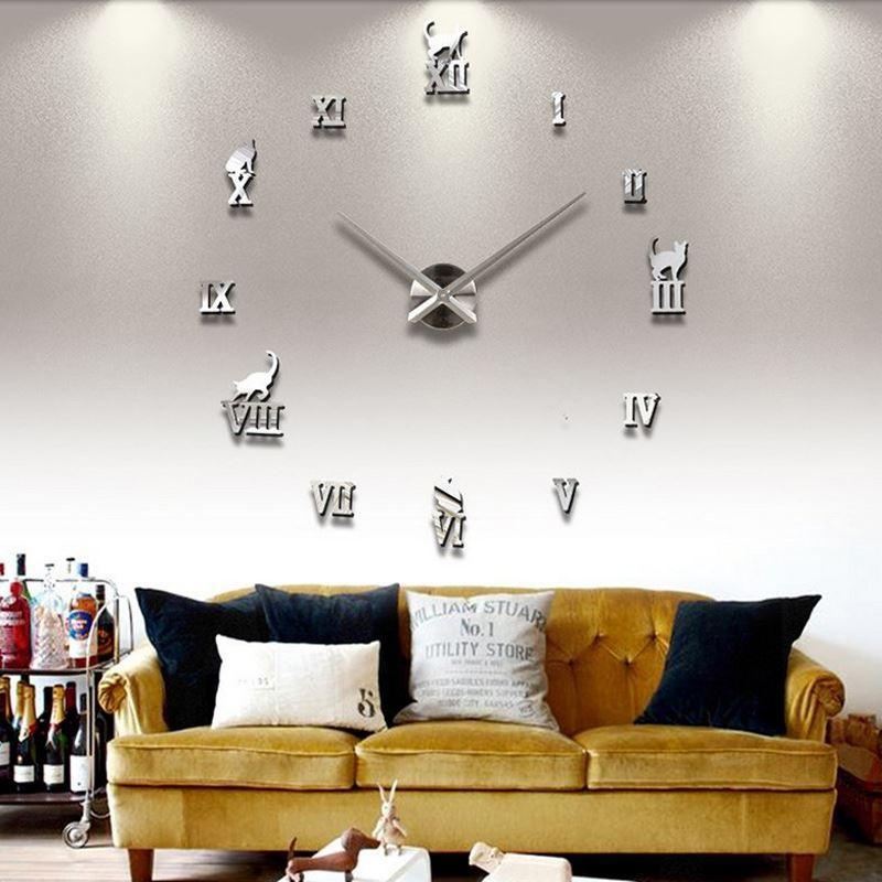 New Hot relógios de parede relógio relógio Diy Espelho acrílico Adesivos Quartz Sala Needle Horloge moderna Relógio de Cuco