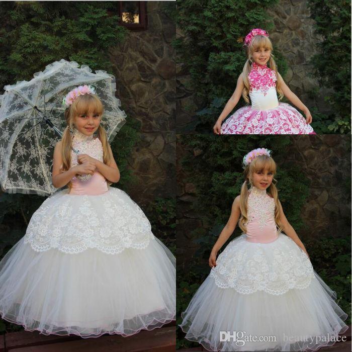Tanie Koronki Biały Fuksja Balowa Suknia Kwiat Dziewczyna Suknie Z Kryształami Kryształowymi Nowymi Małymi Dziewczynami Suknie Korownicze Dla Dziewczyn Party Dress 2016