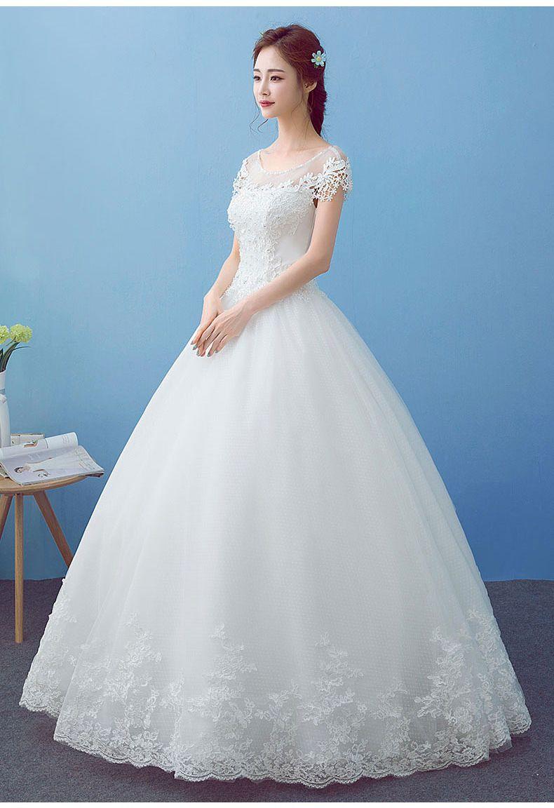 Quality O-neck Short Sleeves White Wedding Dress Bride Wedding ...