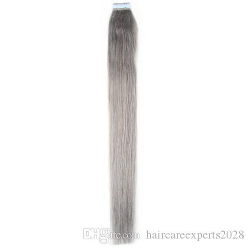 """18 """" -22 """" лента 3M на ширине кожи 4cm, 2.5 G/pc 40pcs/100g/pack #серая прямая бразильская Лента Remy утка кожи волос In / On выдвижения человеческих волос"""