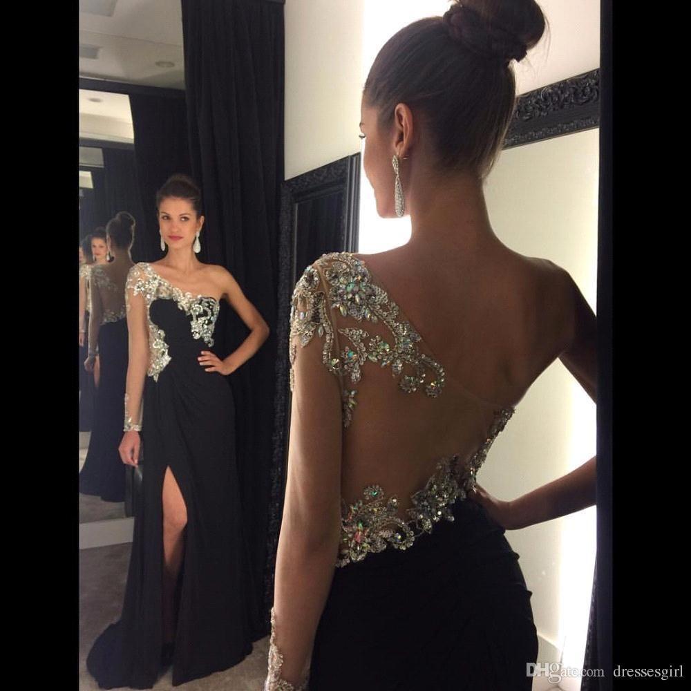 다리 스플릿 댄스 파티 드레스 공식적인 흑인 한 어깨 긴 소매 크리스탈 구슬 이브닝 드레스 공 가운 섹시한 새로운 파티 가운